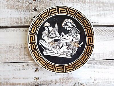 Vitage VTG Hand Made In Greece Athens Hand Made Wall Hanging Plate Ancient black