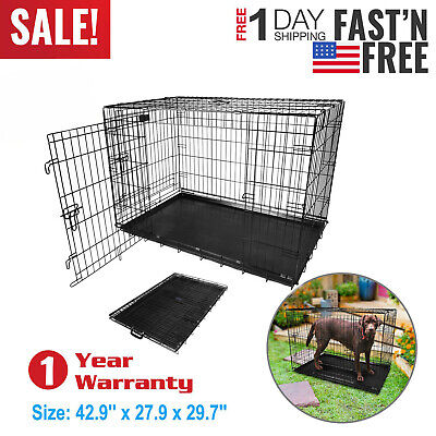 "48"" 42"" 36"" 30"" 24"" 18"" Pet Dog Folding Cage Extra Large Dog Cat Crate Metal US"