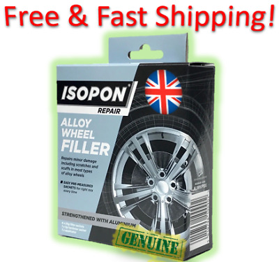 Isopon Alloy Wheel Repair Filler 4 x 25g Sachet Strengthened with Real Aluminium