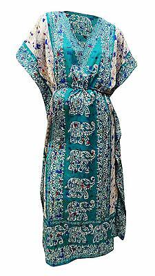 Summer Kaftan Dress Blue Cover Up Batik Kimono Plus Size Long Maxi Caftan KFT17