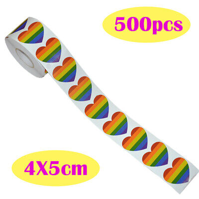 500 Love Arc-En-Ciel Ruban Autocollants, 7 Colors Rayures Cœur Forme Rouleau