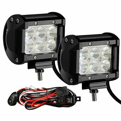 """Pair 200W 4"""" inch Work Lights CREE Flood LED Light Bar Reverse 4WD Free Wire"""