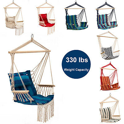 Hammock Chair Hanging Rope Chair Porch Cotton Swing Seat Indoor Outdoor Portable