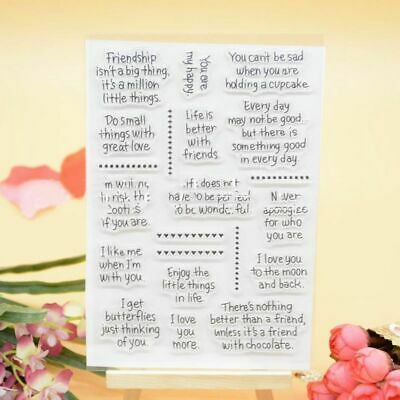 1Pcs Silicone Clear Transparent Card Word Scrapbooking Craft Rubber Stamps DIY