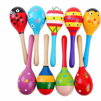 Colorful Wooden Maracas  Musical Instrument Rattle Shaker Toy For Baby Child