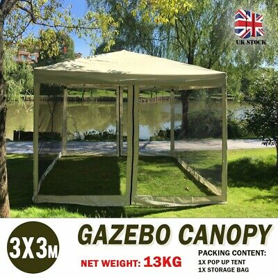 3 x 3m Foldable Gazebo Canopy Pop Up Tent Mesh Screen Garden Shade Party Wedding