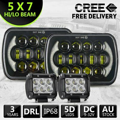 """Pair HILUX LED UPGRADE HEAD LIGHT 5X7INCH HEADLIGHT REPLACEMENT HI/LO + 4"""" Spot"""