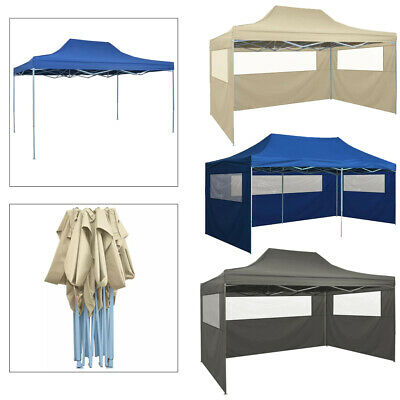 Foldable Garden Heavy Duty Pop Up Gazebo Marquee Party Tent Canopy 3 Side Panels