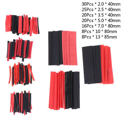 127Pcs Weatherproof heat shrink sleeving tubing tube assortment kit black glueHQ