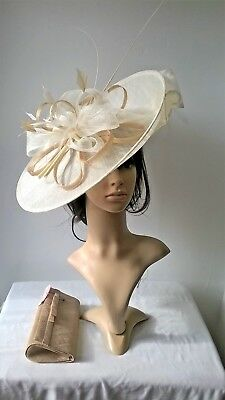 Ivory with pale gold Hatinator ...Large saucer disc Wedding.races..custom made