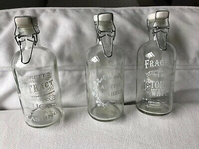 Antique French Glass Bottles Monogrammed