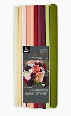 Lia Griffith Extra Fine Crepe Paper Folds Rolls, 30 Sheet of 10 Assorted Colours