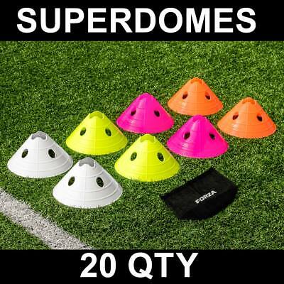 FORZA Football Superdomes [20qty] Training Marker Cones - 4 Colour Options + Bag
