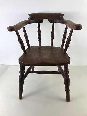 Rare Victorian Ash & Elm Child's Windsor Smoker's Bow Chair 19th Century Antique
