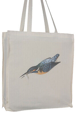 Kingfisher Bird in Flight on Cotton Tote Bag Long Handles and Gusset - Gift