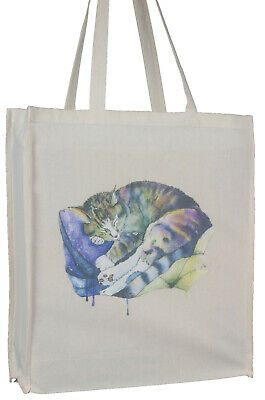 Black Cat Kitten /'On Windowsill/' Design Cotton Shopping Tote Bag with Gusset and Long Handles