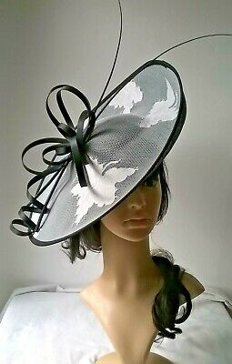 Black with ivory Sinamay Hatinator.hat.Large saucer disc Wedding.races...myrtle