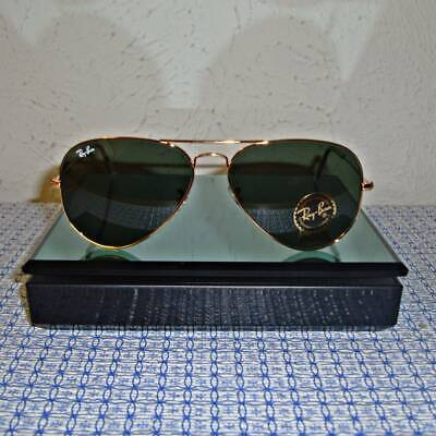 Ray Ban RB 3025 W3234 Aviator Gold Frame / Green Lens G15 - Size 55 NEW