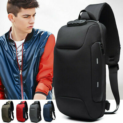 USB Charge Anti-theft Backpack With 3-Digit Lock Travel Shoulder Bag Waterproof
