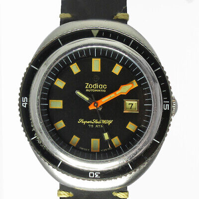 Zodiac Super Sea Wolf Ref.722.936 Date St.Steel 1970's Vintage Automatic Watch