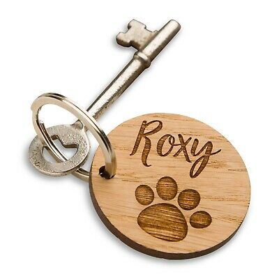 Pet Memorial Paw Oak Keyring, Dog or Cat Paw Print, Pet Sympathy, Personalised