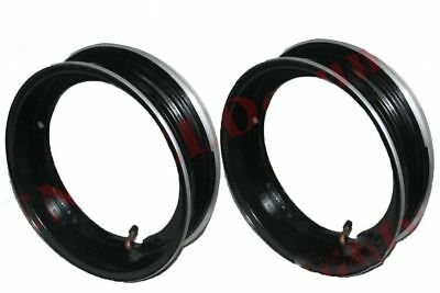 "Vespa Rim Units Pair 10"" Wheel Alloy Aluminium Black Tubeless Tyre CDN"