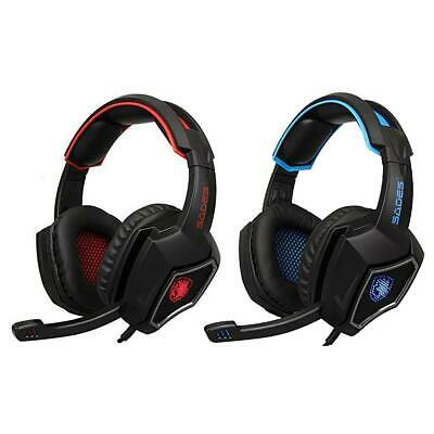 BW#A SADES Spirit Wolf 7.1 Surround Stereo Gaming Headset with Mic for PC Gamer