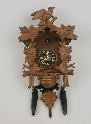 Vintage Carved Wooden Cuckoo Clock Wall Hanging Bird House Look Home Decor