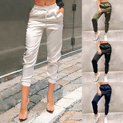 Women Casual  Long Pants Side Stripe Elastic Waist Pencil Thin Joggers Trousers