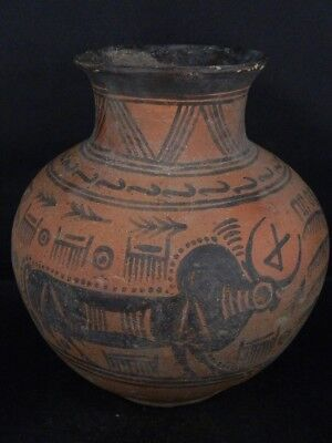 Ancient Large Size Teracotta Indus Valley Painted Pot With Bulls 2000 BC #IK487#
