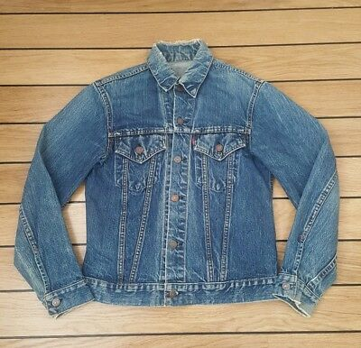 "Genuine 1960's Vintage Levi's TYPE 3 Trucker BIG E DENIM JACKET 38"" Size Small."