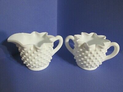 Vintage Fenton Hobnail White Milk Glass Star Creamer Pitcher & Sugar Bowl D11