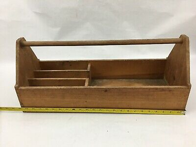 """24"""" Old Vintage Antique Large Wooden Wood Carpenter Tool Box Carrying Caddy Case"""