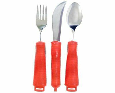 NEW 3 Piece Easy Grip Red Flatware Set, Bendable Built Up Fork, Knife, and Spoon
