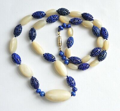 Beautiful Vintage Chinese Hand-Carved Lapis Lazuli & Gypsum Necklace