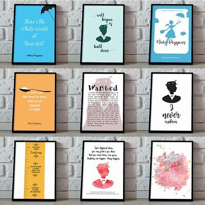 Mary Poppins Poster, Silhouette, Mary Poppins Quotes, Artwork Gift Prints Decor