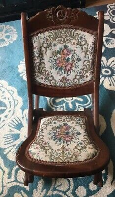 Vintage Tapestry Folding Rocking Chair