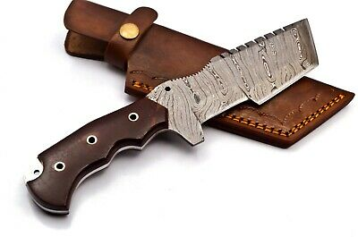 Custom Twist Damascus Steel Tracker Hunting Knife FF20 Micarta Handle