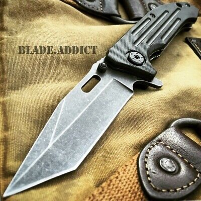 """8"""" BALLISTIC TANTO Stonewash Tactical Spring Assisted Open Combat Pocket Knife-W"""