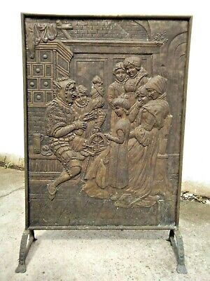 Large Vintage Embossed Brass / Metal Fire Guard / Fire Screen - Medieval Gothic