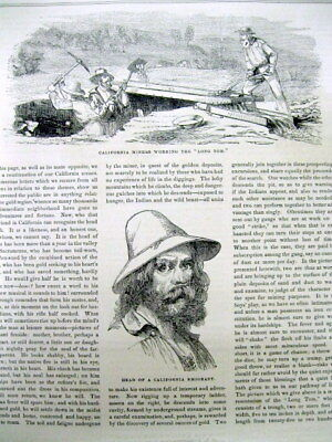1852 illustrated newspaper w VIEWS of THE CALIFORNIA GOLD RUSH & San Francisco