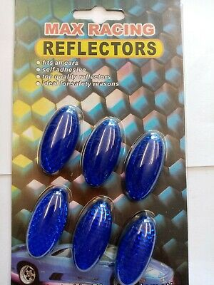 6 X Max Racing. OVEL  Reflectors Fits All Cars Self Adhesive. 1mmx4mm