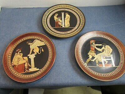 Vintage Greek Ceramic Pottery Plate Hand Made In Greece Lot of 3 Wall Hanging