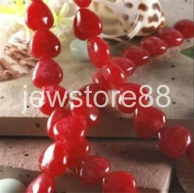 Heart-shaped 12x12mm Red Brazil Ruby Gemstone Heart Loose Beads 15""