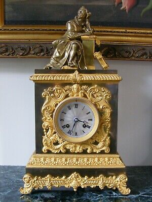Original Antique French, Bronze Ormolu 8 day Figural 'Pons' Mantle Clock c1850
