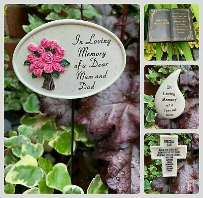 Memorial Stick Stake Plaque Heart Butterfly Cross Cherub Book Angel Graveside