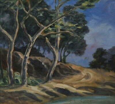 ARTHUR CHECKLEY 1874-1964 Oil Painting Trees Road Canadian Impressionist Listed