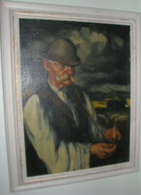 Wpa American Scene Oil Painting Artist Signed Farmer Smoking Pipe