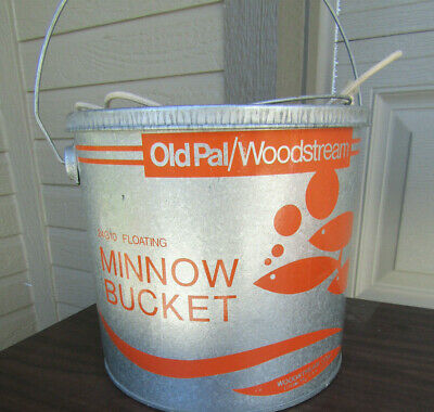 OLD PAL Galvanized Floating MINNOW Bucket Fishing Bait Woodstream