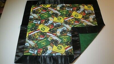 John Deere Collage Lovey-Tan Background-Gr8 For Children-Satin Binding